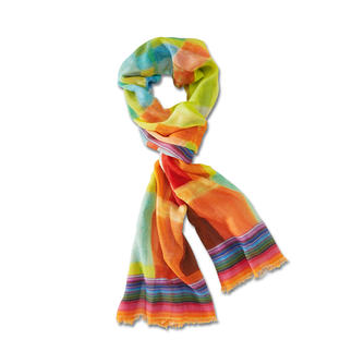Multicoloured Year-Round Scarf Not too thin. Not too warm. And always the right colour. In wool with silk.