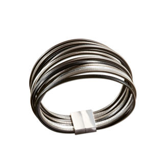 """Leather Bracelet """"Mock Metal"""" The look of metal. But light, flexible, and supple. The handmade leather bracelet from France."""