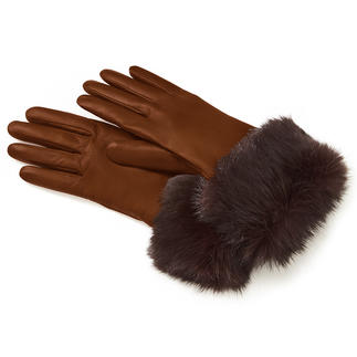 Rabbit Fur Leather Gloves Snug hair sheep leather. Real rabbit fur. And a superbly soft lining made of pure cashmere.