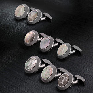 Tateossian Initial Cufflinks Personal and unique: Mother of pearl cufflinks with your initials. By the King of Cufflinks: Robert Tateossian.
