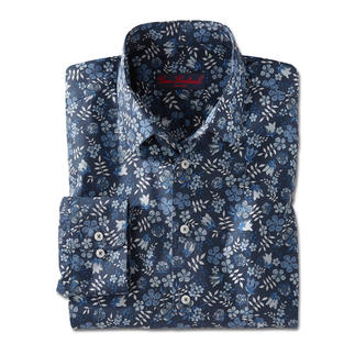 Liberty™ Tana Lawn Shirt, Dark blue/White/Blue/Grey Floral patterned gentleman's shirt: A huge trend – yet at Liberty™ a tradition for more than 140 years.