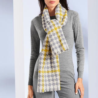Lochcarron Houndstooth Scarf Classic houndstooth pattern: Highly fashionable in extra-large size in grey/off-white/yellow.