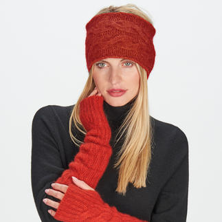 pos•sei•mo Possum Headband or Fingerless Gloves Ultra-light and fluffy. Wonderfully warm and naturally water-repellent. Knitted headband and fingerless gloves.