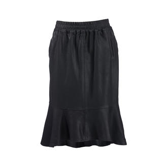 Depeche ruffled leather skirt Trend: Leather skirts. Our price-performance suggestion: This one from Danish label Depeche.