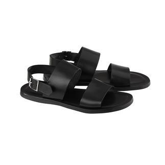 Calfskin Leather Sandals Soft calfskin leather. Seamlessly integrated shock-absorbing footbed. Adjustable heel strap.