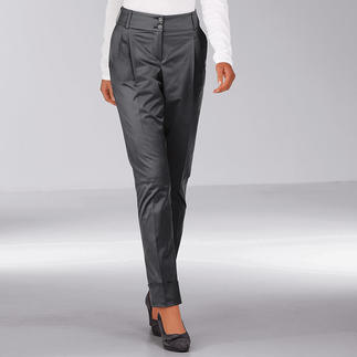 """Shiny Chino """"Perfect Fit"""" Chinos the elegant way: In a shiny charcoal-grey. Cross-stretch for perfect fit and comfort."""