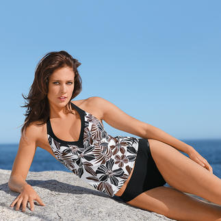 Floral-Tankini Elegant black/brown floral pattern. Looks good even against a pale complexion.