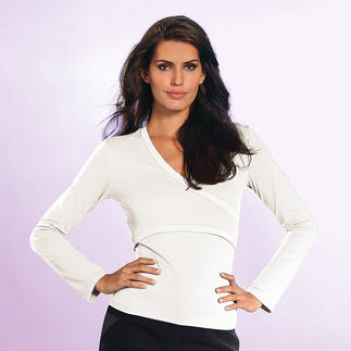 """Wrap"" Top, long sleeves At last – a wrap top that fits perfectly. Its secret: A mock wrap design without annoying ties."