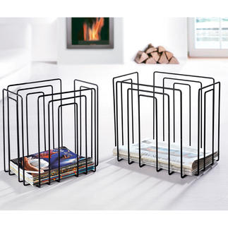 Newspaper or Magazine Rack Fancy design holds all issues: Space saving, organised, accessible. Now also in black.