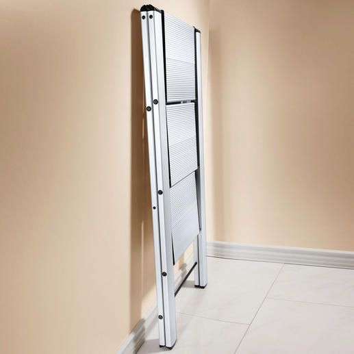 "The ""double"" step ladder folds down to a mere 50 x 79 x 4cm (19.7"" x 31"" x 1.6""), the ""triple"" step version to 50 x 106 x 4cm (19.7"" x 41.7"" x 1.6"") (W x H x D)."