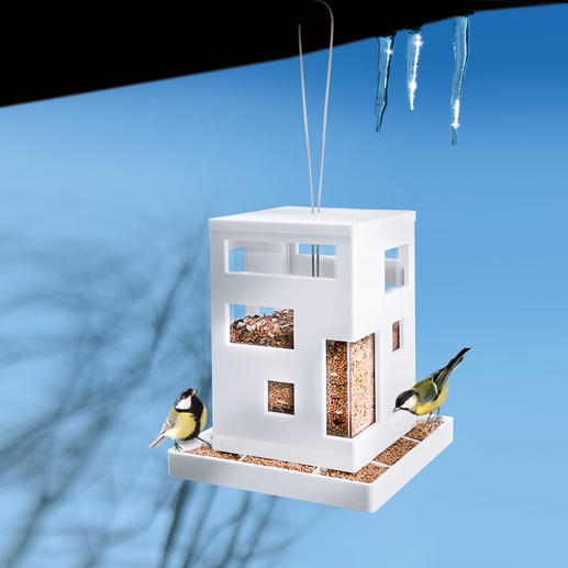 Bauhaus Style Bird Feeder A modern classic. Made from sturdy, easy-care plastic.