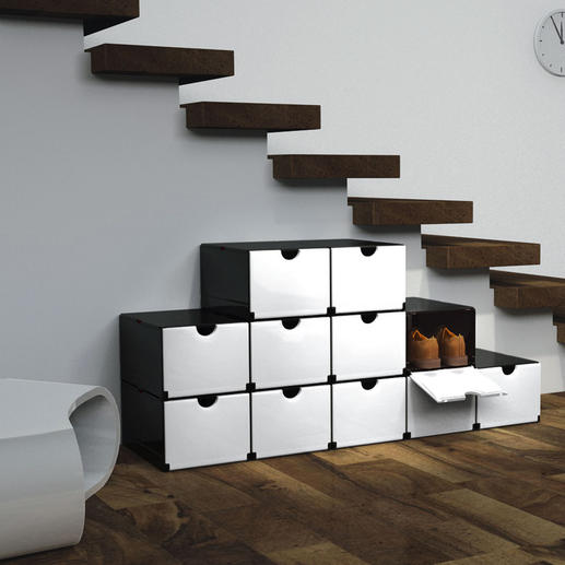 Clever Folding Boxes Folds up instantly into a shoe or supply cabinet, filing cabinet, bathroom rack etc.