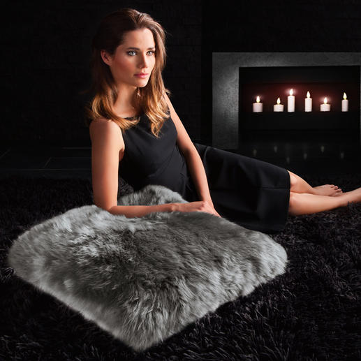 Sheepskin Cushion - Elegant on your couch, supremely comfortable as a floor cushion.