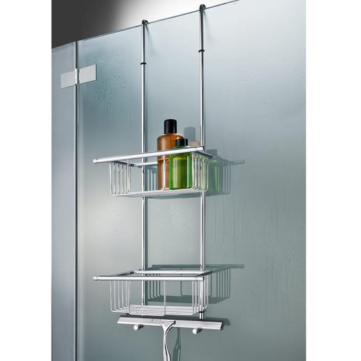 Bath Towel Holder or Hanging Shower Shelf Rarely is a perfect, stylish solution this simple.