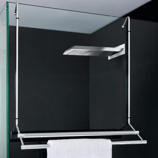 The Bath Towel Holder saves room when it's hung on the outside of the shower and is easily removed.