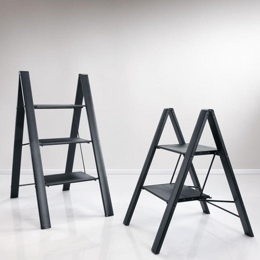 """Italian Aluminium Step Ladder Safer (and prettier): With extra deep steps. But still folds down to a thin 1.6""""."""