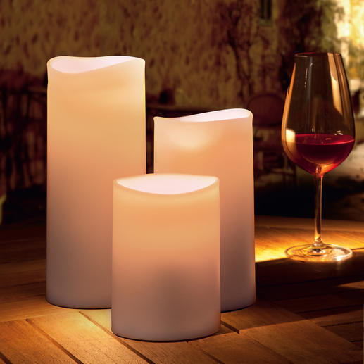 Outdoor LED candle Warm, vibrant candlelight – yet safe and even resistant to rain.