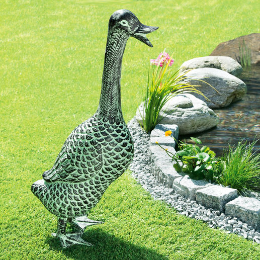 """Duck"" Garden Sculpture A charming garden sculpture in weatherproof aluminium. Life-size with a wonderful patina."