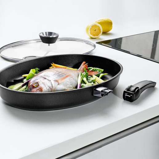 XXL Die Cast Aluminium Fish Frying Pan Lotan® Premium fish frying pan – highly conductive hand cast aluminium with removable handle.