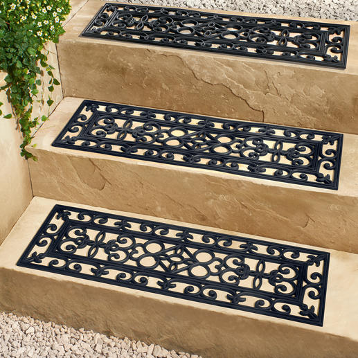 Step Protector, Set of 3 Elegant, secure  protection for outdoor stairs. Attractive wrought iron look.