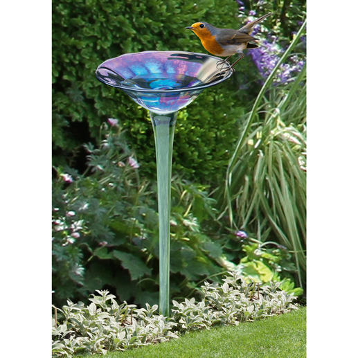 Rainbow Glass Bird Bath A beautiful flower made of iridescent glass. Mouth-blown & hand-shaped.