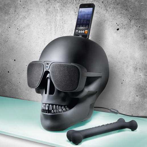 True to the skull design: The cool remote control (supplied) is shaped like a bone.