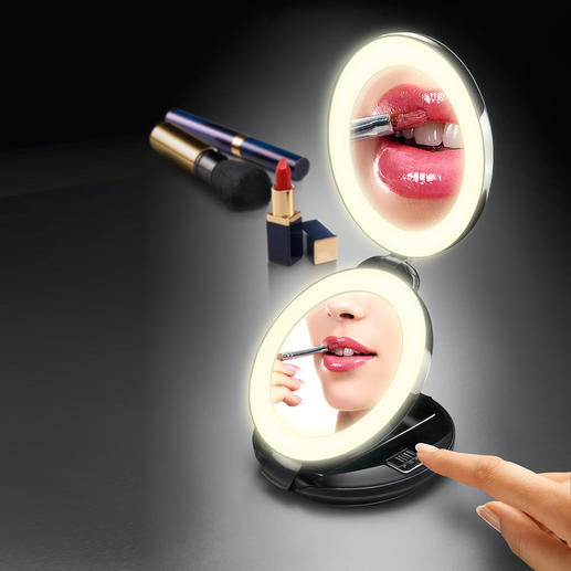 2-in-1 Folding Mirror Hand sized vanity mirror and 10-fold magnifying mirror in one. With LED light.