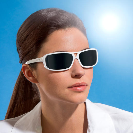 The cool white sunglasses have grey lenses.