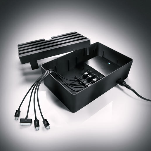 All cables can easily be stowed inside – they won't lie around and gather dust. (Delivery without cable.)