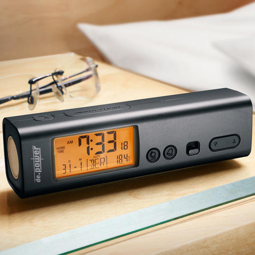 3-in-1 Radio-Controlled Travel Alarm Clock - Compact. Light. Exact atomic time. Perfect for home or travel.