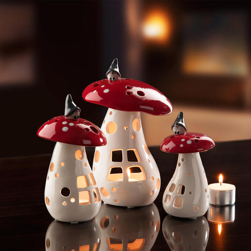Mushroom Lamp with Gnome, Set of 3 - Each ceramic object is lovingly hand-painted and glazed.