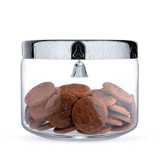 Alessi Cookie Jar Glass jar with tightly closing stainless steel lid keeps biscuits fresh - and protected thanks to the bell.