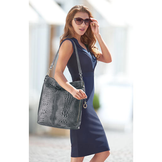"""Leather """"Faux Crocodile"""" Hobo Bag This leather bag covers 4 trends in one at a sensational price."""