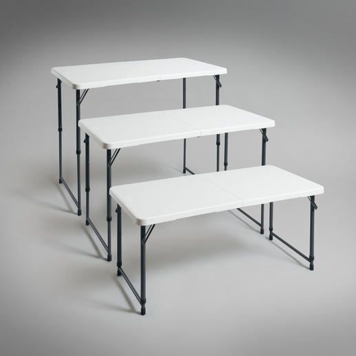 Triple height-adjustable – ideal as a buffet, side or dining table, work table, or play table for kids.
