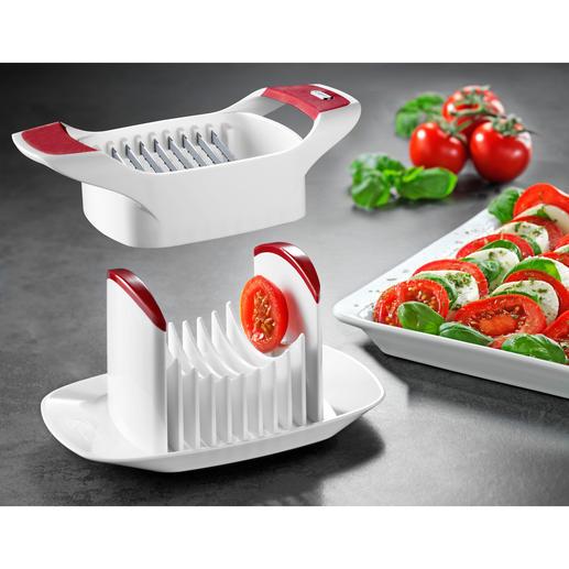 Zyliss® Tomato/Mozzarella Slicer So quick and easy to use: Tomatoes, mozzarella, hard-boiled eggs sliced to perfection.