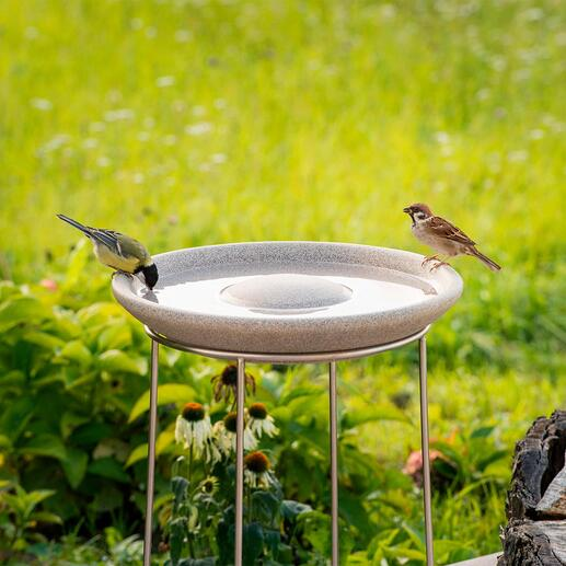 "Granicium® Bird Bath with Stainless Steel Stand Modern design. The 19.7"" high stainless steel stand deters cats and other predators. UV and weather resistant."
