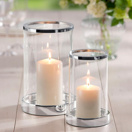 Silver-Plated Lantern, incl. candle Brilliant crystal glass in a classic cylinder shape. Base and edge luxuriously adorned with silver plating.