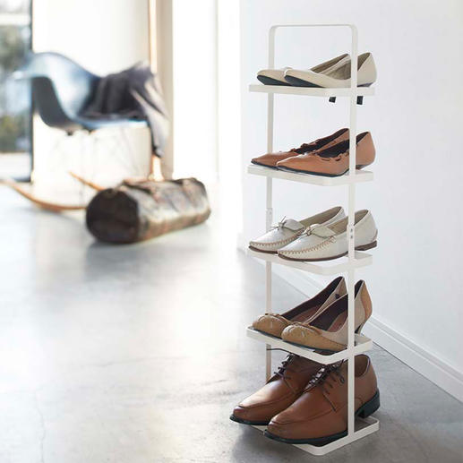 "Portable Shoe Rack ""Tower"" Elegant. Organised. Mobile. Stores 5 pairs of shoes on the surface of just one pair."