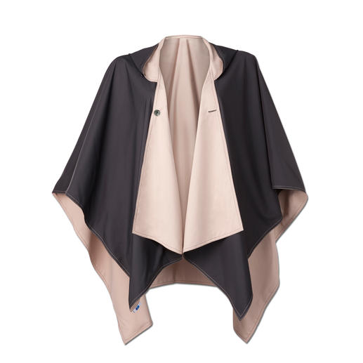 This fashionable rain poncho is also available in beige/black.