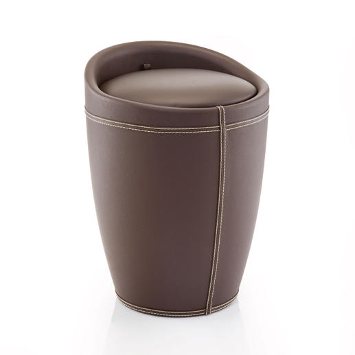Storage Stool - Elegant, with a padded seat and 20 litres of hidden storage space. With removable laundry bag.