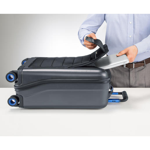 A separate compartment for your laptop is usefully located on the exterior of the suitcase.