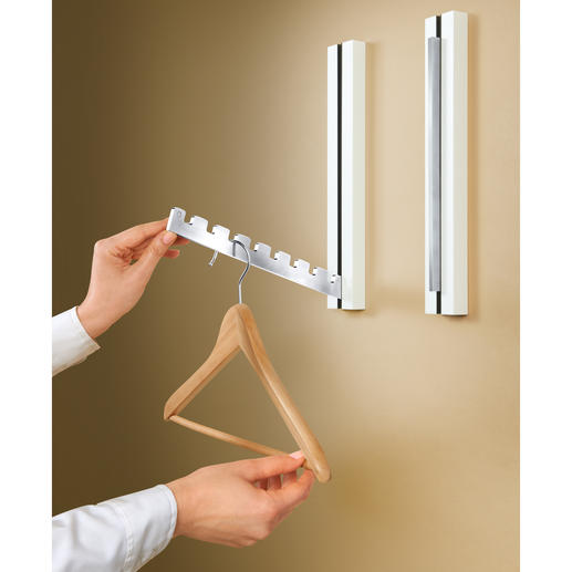 Fold-Out Designer Coat Rack, 1 Piece Convenient. Can accommodate up to 8 garment hangers.