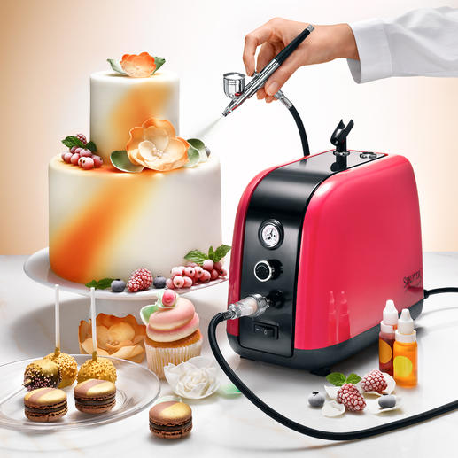 Airbrush Compressor Kit, 7-piece set Create your own stunning cake designs just like a pro.