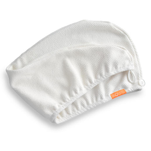 The turban design has a convenient button closure which keeps it securely in place.