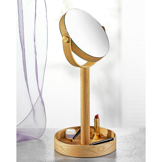 Cosmetic Close Up Mirror - Reversible cosmetic mirror with elegant oak wood frame and extra large storage base.