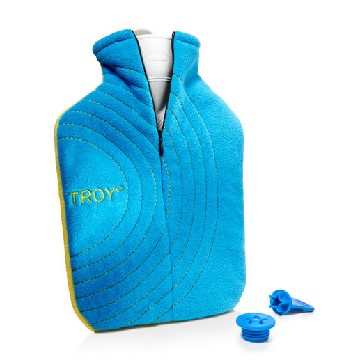 Troy° Hot Water Bottle - Stays warm twice as long – and much safer. With ingenious salt pad, premium cover and safety lock.