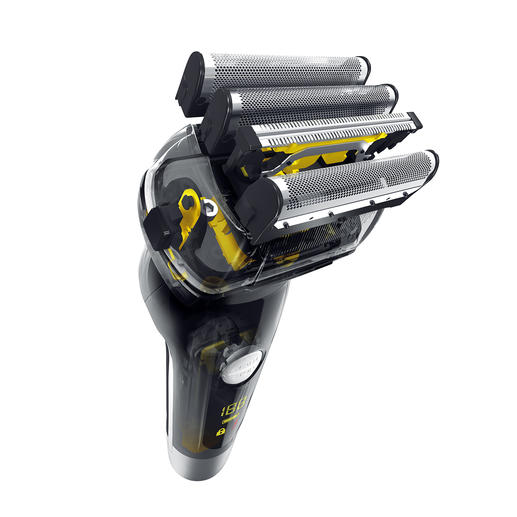 A long hair cutter is integrated into the highly efficient 4-way shaving system.