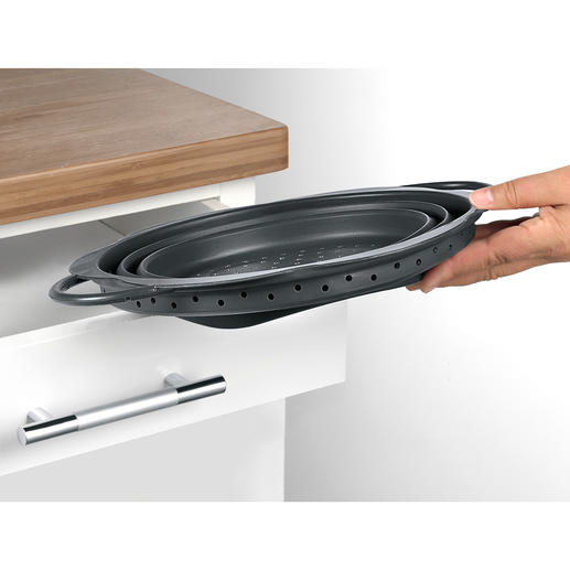 Fits easily into any drawer or small space in a kitchen cabinet.