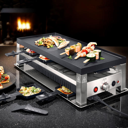 Solis 5-in-1 Raclette Grill - Fun cooking for every palate: Raclette, table-top grill, mini wok, pizza and crêpe baker in one.