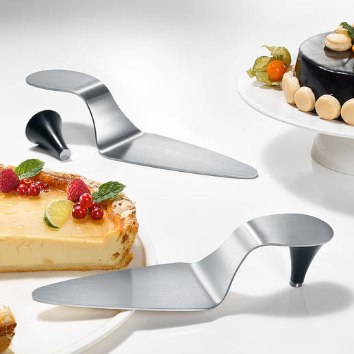 High-Heel Cake Server Brushed stainless steel with magnetic heel.